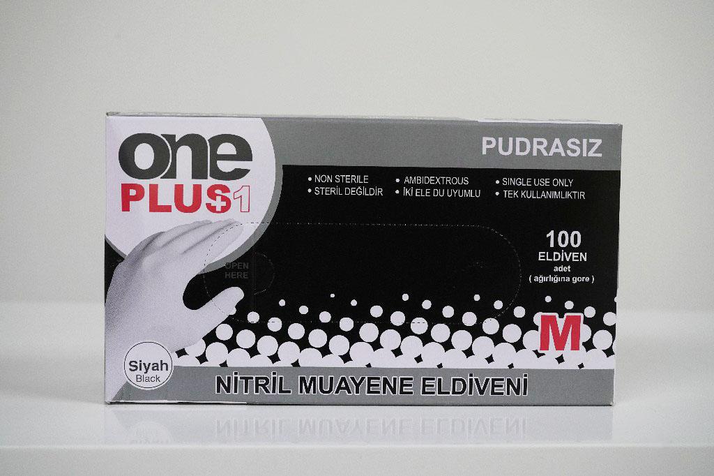 Nitril Pudrasiz Muayene Eldiveni Siyah 100'lü 1
