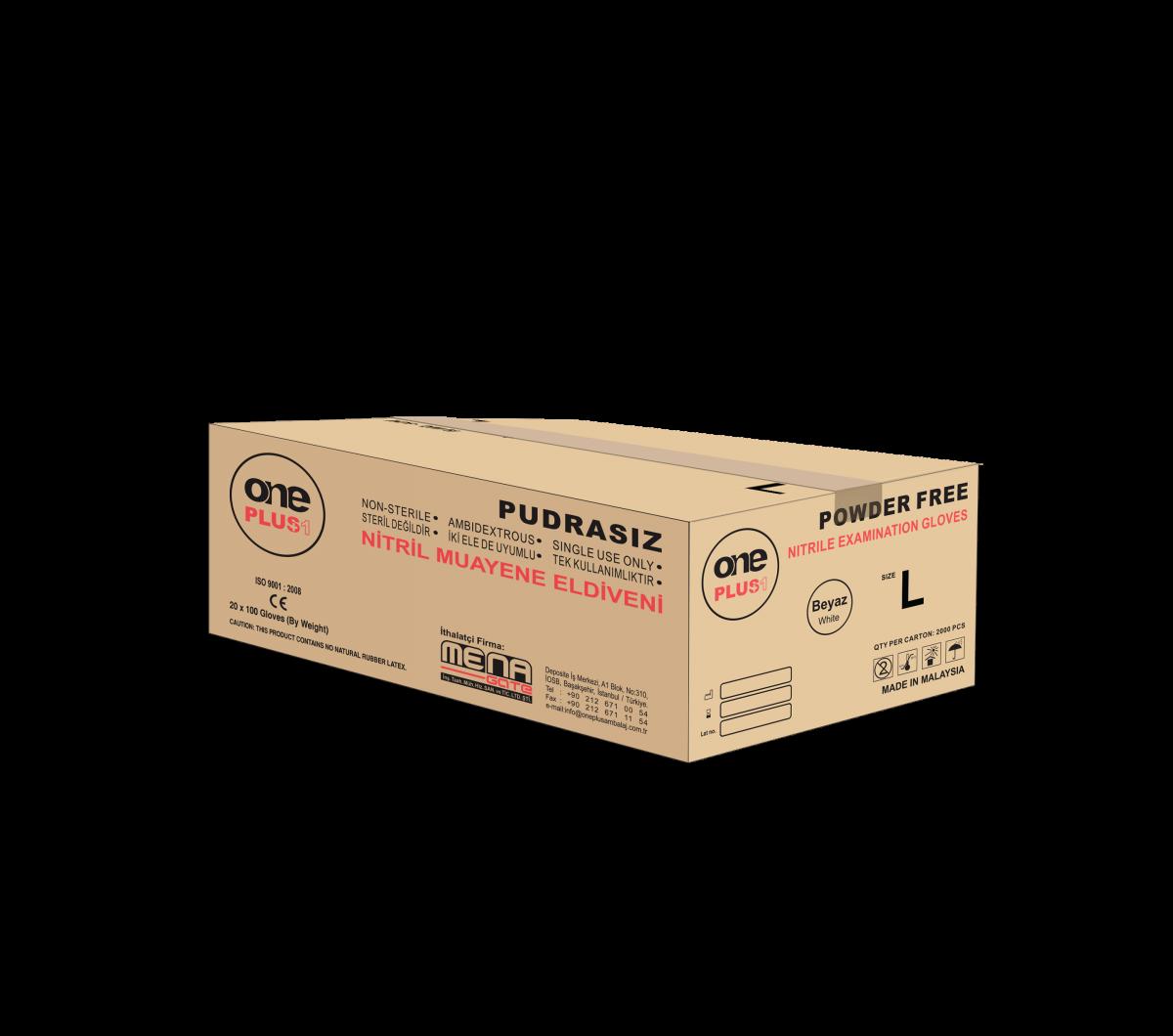 OnePlus Ambalaj Nitril Pudrasiz Muayene Eldiveni Siyah koli (20 paket × 100'lü paket) L