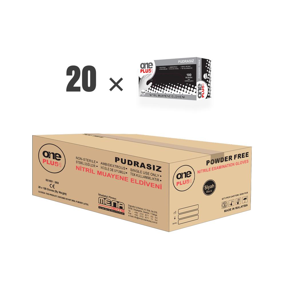 OnePlus Ambalaj Nitril Pudrasiz Muayene Eldiveni Siyah koli (20 paket × 100'lü paket)